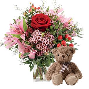 Fleurs et cadeaux Je t'aime et son ourson Harry ourson