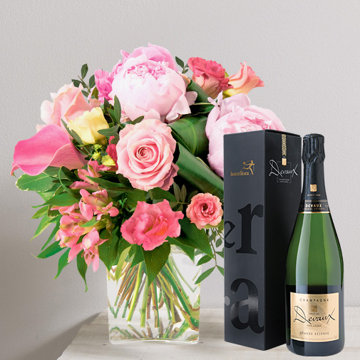 Bouquet de fleurs Bouquet de l'amour et son champagne Devaux
