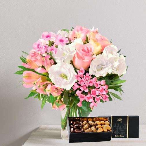 Bouquet de fleurs Chanson douce et ses amandes au chocolat