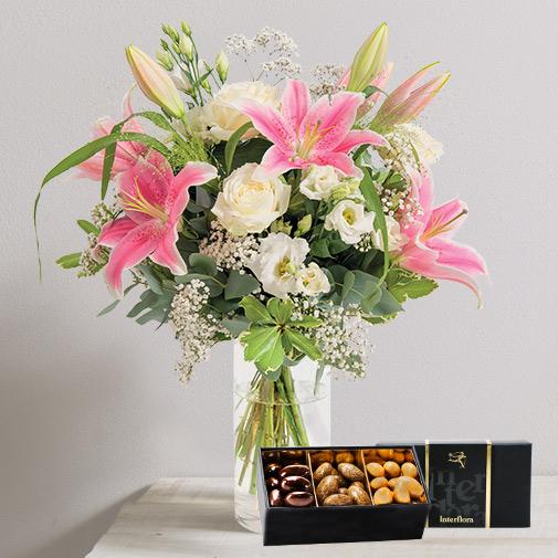 Bouquet de fleurs Pur délice et ses amandes au chocolat