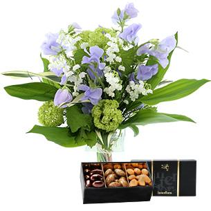 Bouquet de fleurs Bonne étoile et ses amandes au chocolat