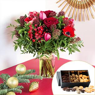 Bouquet de fleurs Joyeuses fêtes et ses amandes au chocolat