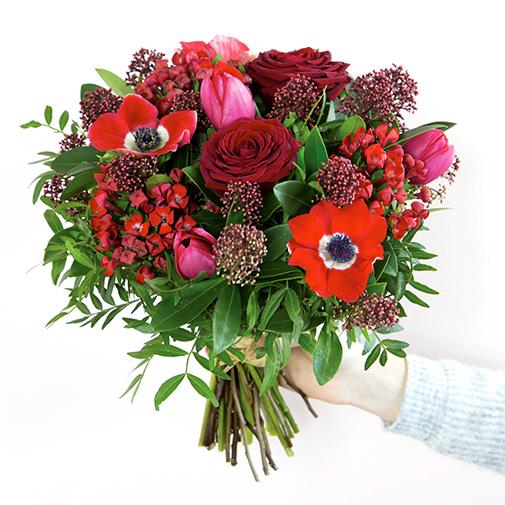 Bouquet de fleurs Joyeuses fêtes et sa bougie parfumée Esteban