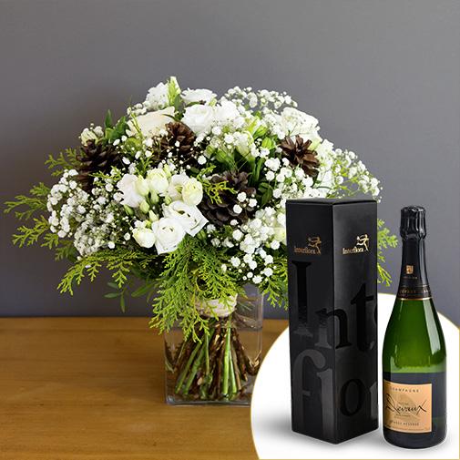 Bouquet de fleurs Etoile des neiges et son champagne Devaux