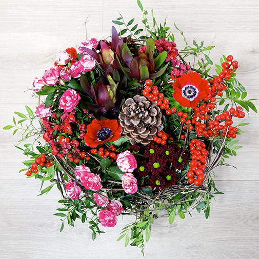Bouquet de fleurs Au coin du feu et ses amandes au chocolat