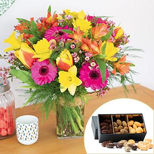 Bouquet de fleurs Parfum d'enfance et ses douceurs au chocolat