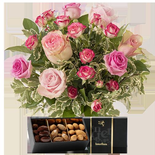 Bouquet de fleurs Bouquet de l'amour et ses amandes au chocolat