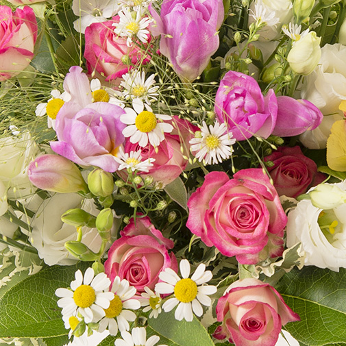 Bouquet de fleurs Instant complice et ses amandes au chocolat