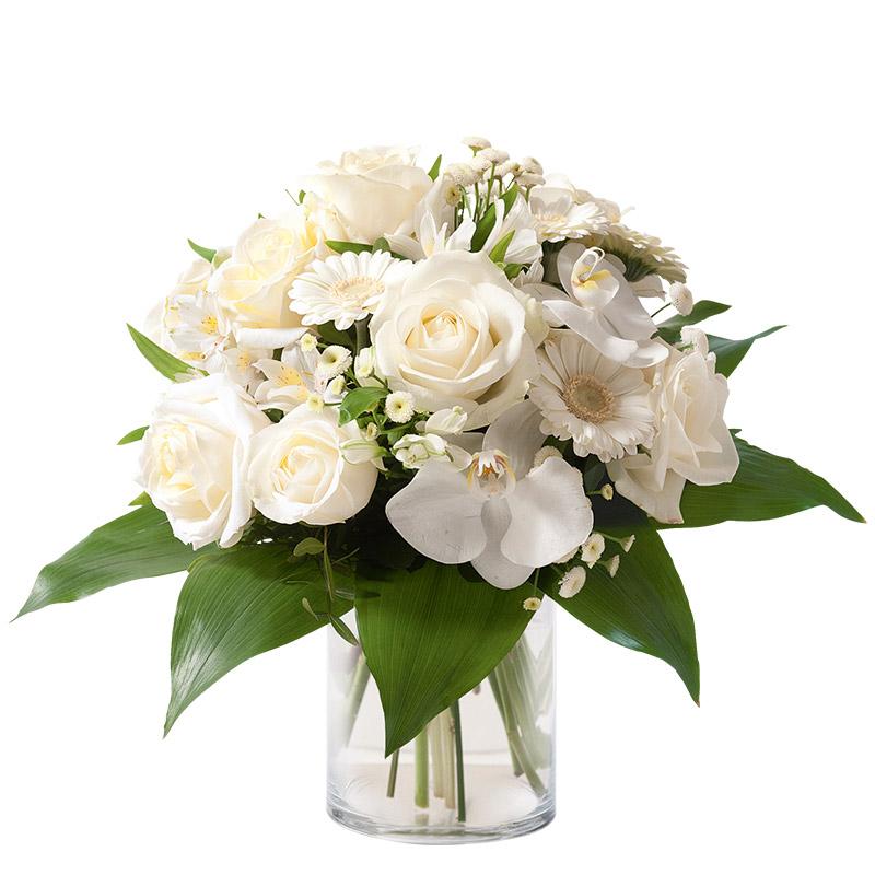 bouquet orchid e et rose bouquet chic blanc interflora. Black Bedroom Furniture Sets. Home Design Ideas