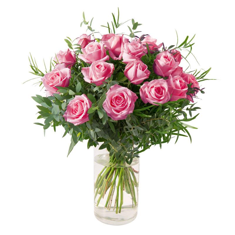 bouquet romantique 18 roses rose gros boutons interflora. Black Bedroom Furniture Sets. Home Design Ideas