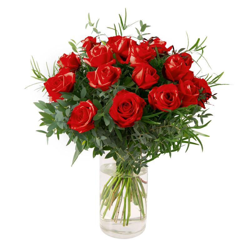 Bouquet romantique 18 roses rouges gros boutons interflora for Bouquet de fleurs rose rouge