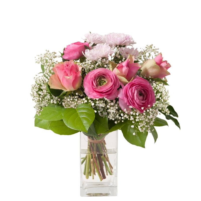 bouquet de roses et renoncule bouquet champ tre rose clair interflora. Black Bedroom Furniture Sets. Home Design Ideas