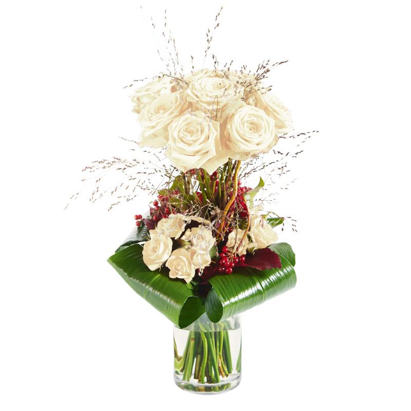 Bouquet de roses blanches sur deux niveaux interflora for Prix bouquet de rose fleuriste