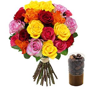 Fleurs et cadeaux Brassée de 20 roses et ses amandines Fleur jaune