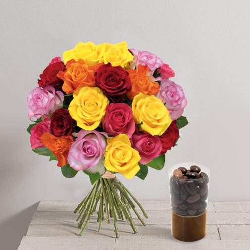 Fleurs et cadeaux Brassée de 20 roses et ses amandines