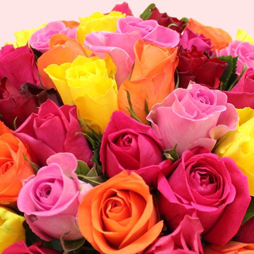 Bouquet de fleurs Brassée de roses multicolores et ses chocolats