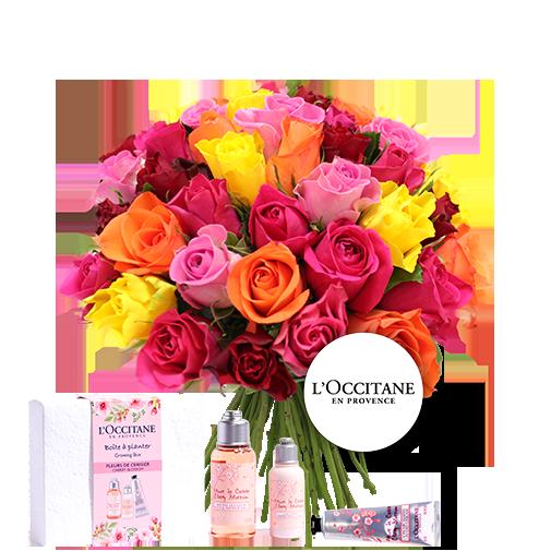 Bouquet de fleurs Brassée de roses multicolores et son coffret L'occitane en Provence
