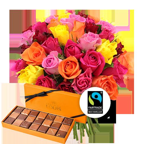 Bouquet de fleurs Brassée de 40 roses multicolores et ses chocolats