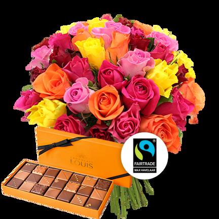 Brassée de 40 roses multicolores et ses chocolats