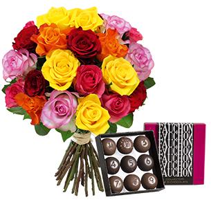 Fleurs et cadeaux Brassée de 20 roses et son écrin FAUCHON Fête du chocolat