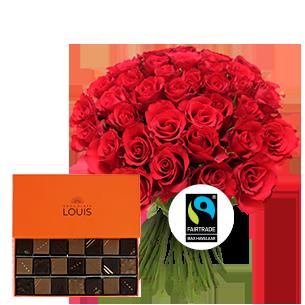 Bouquet de fleurs Brassée de 40 roses rouges et son écrin de 21 chocolats LOUIS
