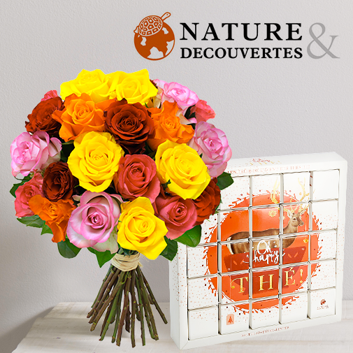 Fleurs et cadeaux Brassée de roses et son Calendrier de l'Avent des thés bio