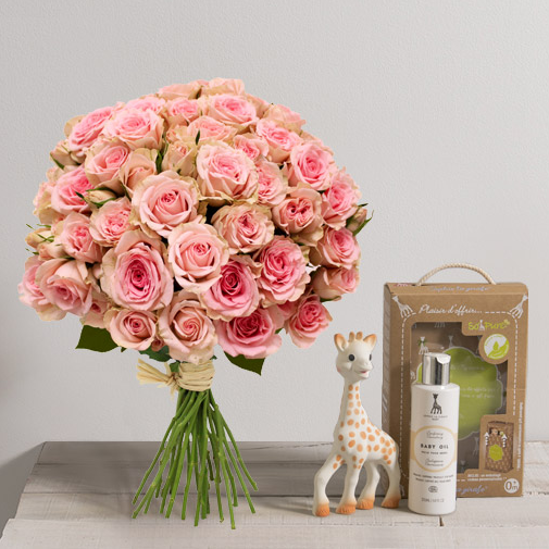 B b douceur sophie la girafe coffret cadeau naissance for Fleuriste livreur