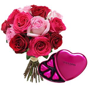Brassee de roses et son cœur tendre FAUCHON - interflora