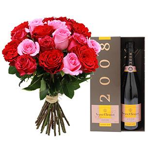 Brassee petillante et son champagne rose - Veuve Clicquot - interflora