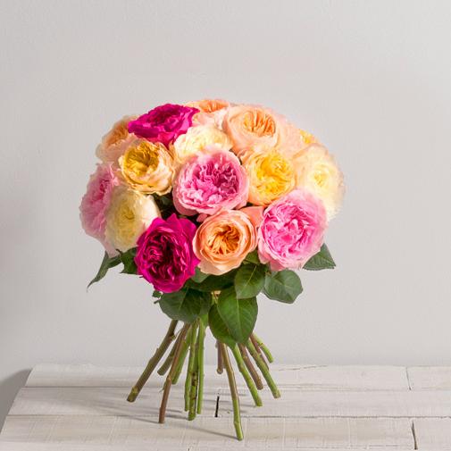 Fleurs et cadeaux Brassée parfumée de 15 roses anglaises