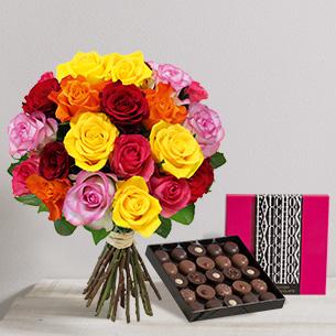 Fleurs et cadeaux Brassée de 20 roses et son écrin géant FAUCHON Fleur jaune