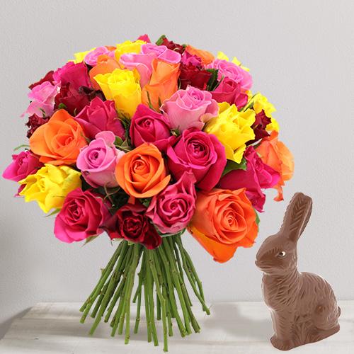 Fleurs et cadeaux Brassée de roses et son lapin de Pâques