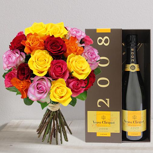 Fleurs et cadeaux Brassée de 20 roses et son champagne Veuve Clicquot