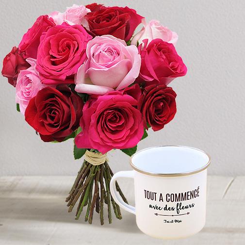 Fleurs et cadeaux Brassée passion et son mug