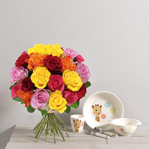 Fleurs et cadeaux Bébé gourmand <br>Sophie la girafe®