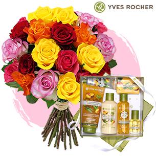 Brassee de roses et sa box Yves Rocher - interflora