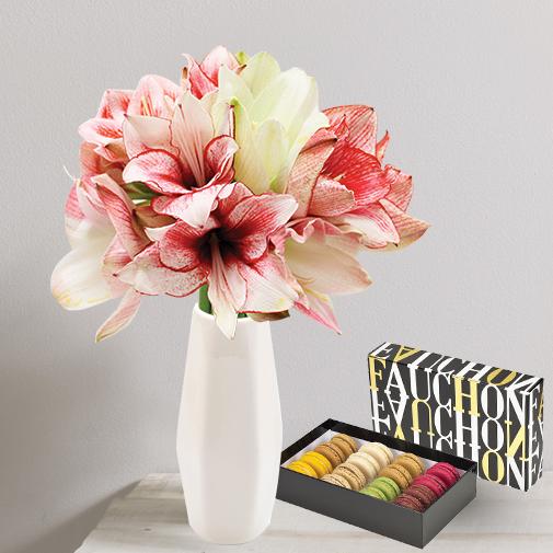 Fleurs et cadeaux Brassée d'amaryllis et ses macarons FAUCHON