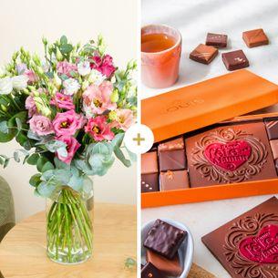 Bouquet de fleurs Brassée de lisianthus et ses chocolats Bonne Fête Maman Fête des Mères