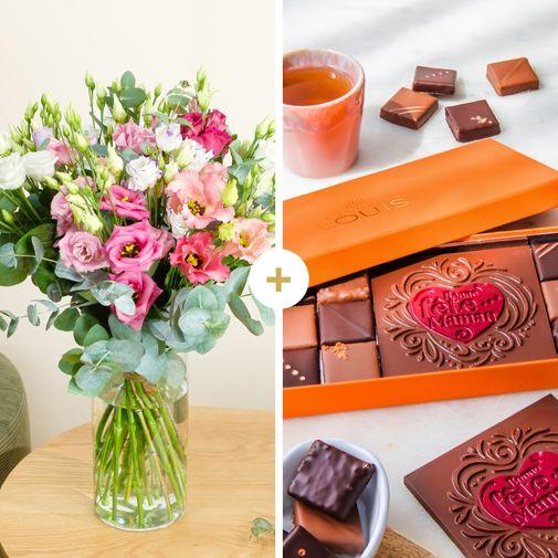 Brassée de lisianthus et ses chocolats Bonne Fête Maman