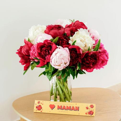 Bouquet de fleurs Brassée de pivoines et son Toblerone