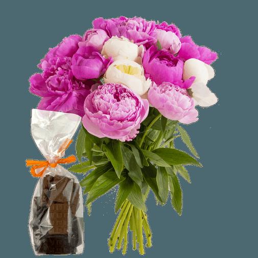 Bouquet de fleurs Brassée de pivoines et ses mini tablettes de chocolat