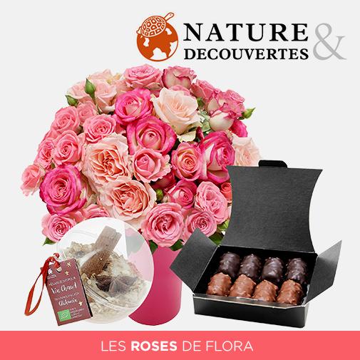 Fleurs et cadeaux Flora délice avec son vase offert et son vin chaud Nature & Découvertes