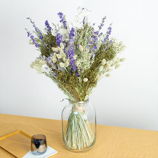 Bouquet de fleurs Evasion Céleste et son vase