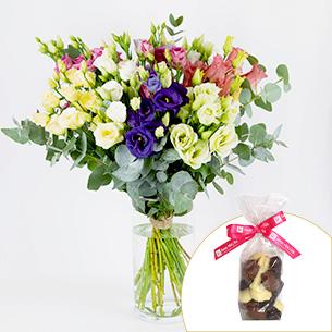 Bouquet de fleurs Brassée de lisianthus et sa friture de Pâques en chocolat