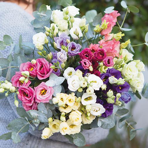 Bouquet de fleurs Brassée de lisianthus et sa friture en chocolat