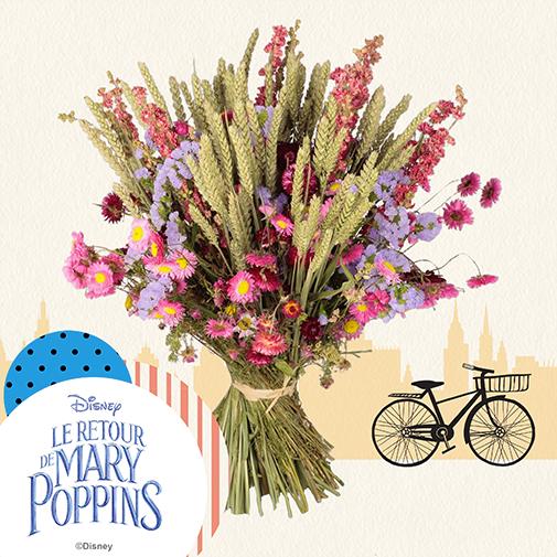 Bouquet de fleurs Mary Poppins - Fleurs séchées