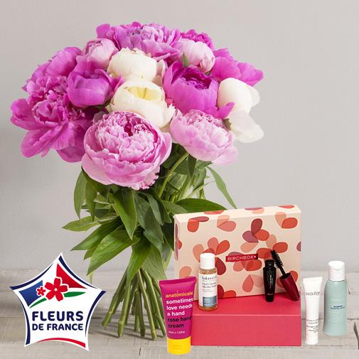 Fleurs et cadeaux Brassée de pivoines et sa box beauté Birchbox
