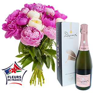 Brassee de 15 pivoines et son champagne rose Devaux - interflora