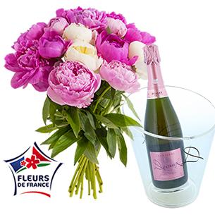 Brassee de 15 pivoines et son champagne rose Devaux + seau - interflora