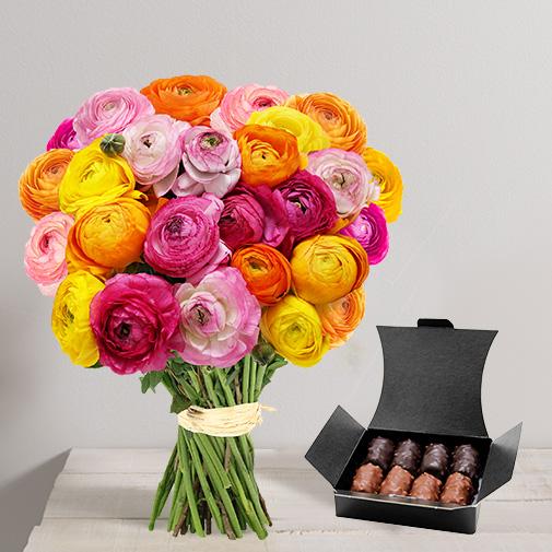 Fleurs et cadeaux Brassée de renoncules et son ballotin de chocolats